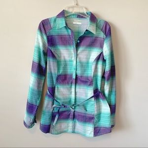 Columbia Omni-Wick Plaid Flannel Button Down Tunic